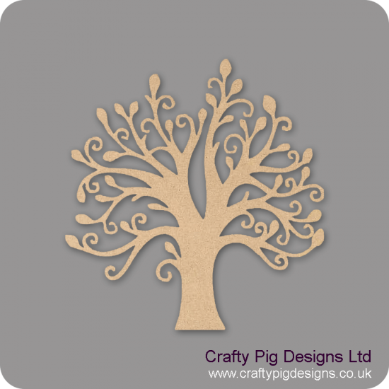 3mm MDF Swirly Tree with Leaves Trees Freestanding, Flat & Kits