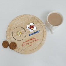 Printed Round Wooden Tea and Biscuits Tray - Super Hero Fathers Day