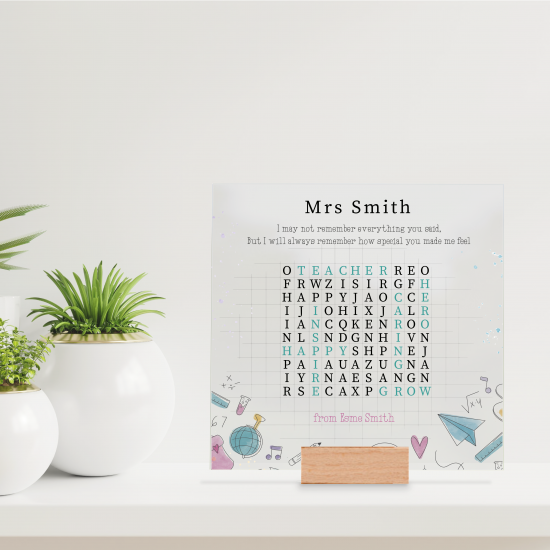 Printed IKEA Ribba or Sannahed Replacement Front Acrylic - Word Search - I May Not Remeber Everything Teachers