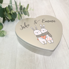 Personalised Printed Heart Shape Silver Tin - Love Bunnies Personalised and Bespoke