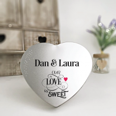 Personalised Printed Heart Shape Silver Tin - Our Love Is Sweet Personalised and Bespoke