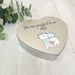 Personalised Printed Heart Shape Silver Tin - Love Cats