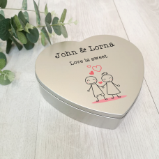 Personalised Printed Heart Shape Silver Tin - Stick Couple