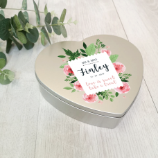 Personalised Printed Heart Shape Silver Tin - Wedding Design Personalised and Bespoke