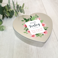 Personalised Printed Heart Shape Silver Tin - Wedding Design