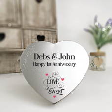 Personalised Printed Heart Shape Silver Tin - Your Love Is Sweet Personalised and Bespoke