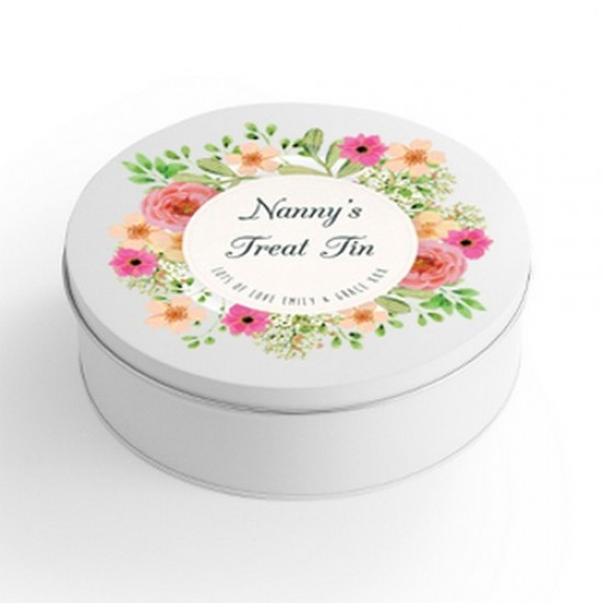 Personalised Printed White Tin - Floral Design Personalised and Bespoke
