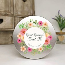 Personalised Printed Silver Tin - Floral Design Personalised and Bespoke