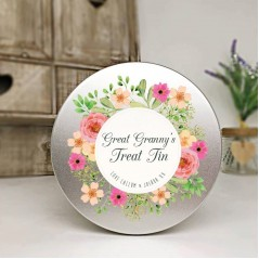Personalised Printed Silver Tin - Floral Design