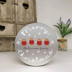 Personalised Printed Silver Cake Tin - Bears In Jumpers
