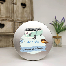 Personalised Printed Silver Tin - Blue Camper Van Personalised and Bespoke