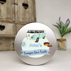 Personalised Printed Silver Tin - Blue Camper Van