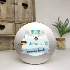 Personalised Printed Silver Tin - Blue Caravan Personalised and Bespoke