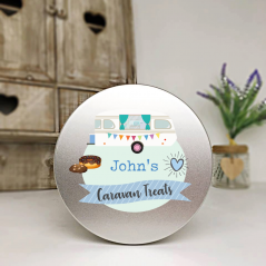 Personalised Printed Silver Tin - Blue Caravan