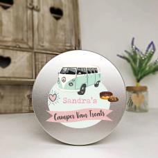 Personalised Printed Silver Tin - Pink Camper Van Personalised and Bespoke