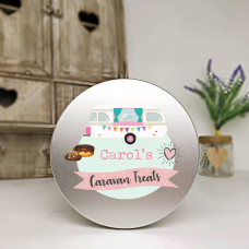 Personalised Printed Silver Tin - Pink Caravan Personalised and Bespoke