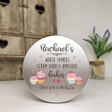 Personalised Printed Silver Tin - Scrumdidllyumptious Cake Tin Personalised and Bespoke