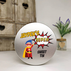 Personalised Printed Silver Tin - Superhero