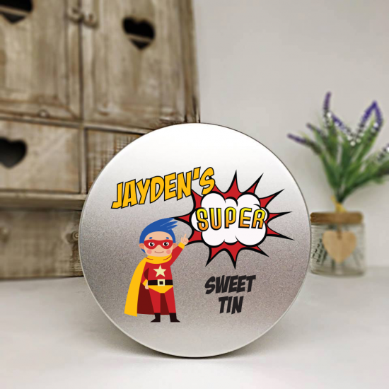 Personalised Printed Silver Tin - Superhero Personalised and Bespoke