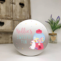 Personalised Printed Silver Tin - Unicorn