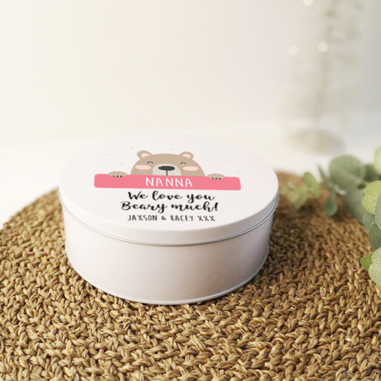 Personalised Printed White Tin - We Love You Beary Much Personalised and Bespoke