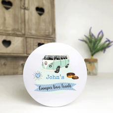 Personalised Printed White Tin - Blue Camper Van Personalised and Bespoke