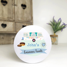 Personalised Printed White Tin - Blue Caravan Personalised and Bespoke
