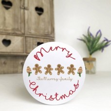 Personalised Printed White Cake Tin - Gingerbread Family Personalised and Bespoke