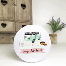 Personalised Printed White Tin - Pink Camper Van Personalised and Bespoke