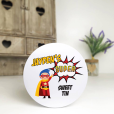 Personalised Printed White Tin - Superhero Personalised and Bespoke