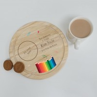 Printed Round Wooden Tea and Biscuits Tray - Teacher