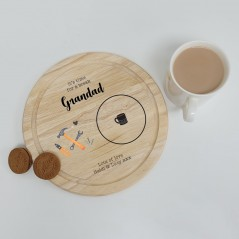 Printed Round Wooden Tea and Biscuits Tray - Tools Design Fathers Day