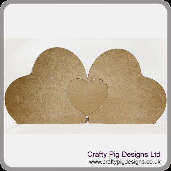 18mm MDF 2 x Freestanding Hearts with Interlocking Heart (200mm)