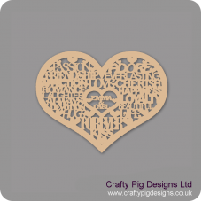 3mm MDF Personalised Love Words in Heart Personalised and Bespoke
