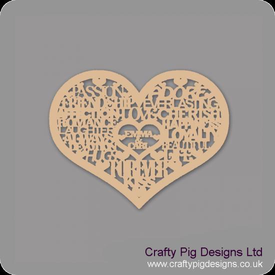 3mm MDF Personalised Love Words in Heart Personalised and Bespoke