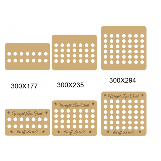3mm Weight Loss Plaque - Rectagular Weight Loss charts