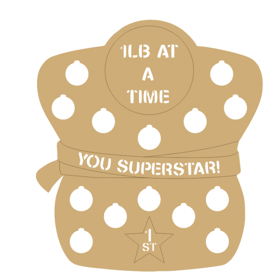 3mm - lb At A Time - Weight Loss Plaque - Figure Shape - Cut Out Letters Personalised and Bespoke