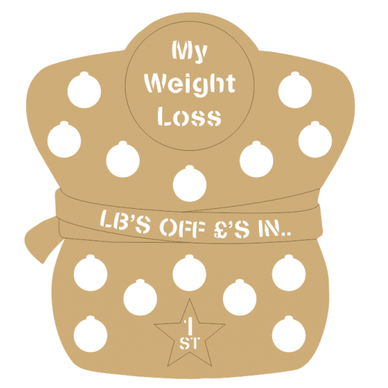 3mm - My Weight Loss Plaque - Figure Shape - Cut Out Letters Personalised and Bespoke