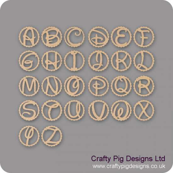 3mm MDF Welded Letter in a Scalloped Circle - Uppercase Only Basic Plaque Shapes