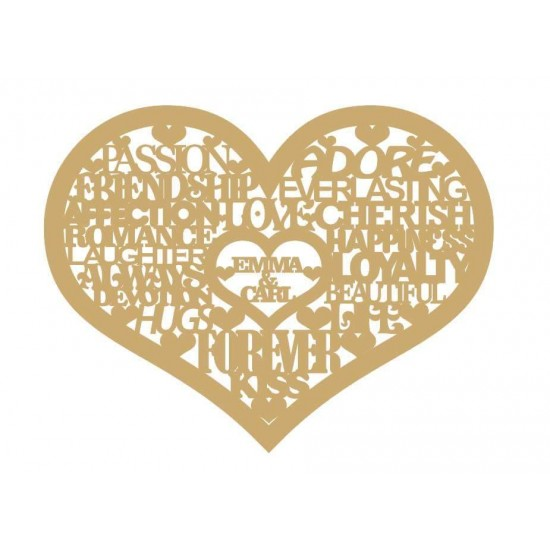 3mm MDF Personalised Wedding Heart Hearts With Words