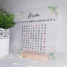 Printed IKEA Ribba or Sannahed Replacement Front Acrylic - Word Search Design 2 Mother's Day