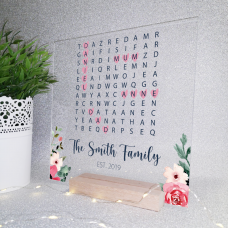 Printed IKEA Ribba or Sannahed Replacement Front Acrylic - Word Search Design 3  Mother's Day
