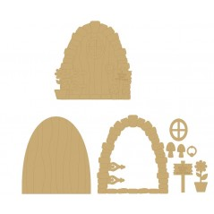 3mm MDF A Special Fairy Lives Here Door with sign, window, flower, toadstools and handle Fairy Doors and Fairy Shapes