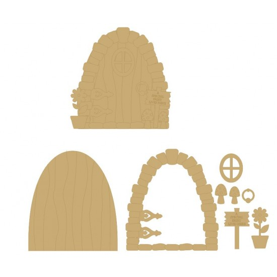 3mm MDF A Special Fairy Lives Here Door with sign, window, flower, toadstools and handle
