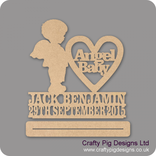 4mm mdf Angel Baby Boy With Wings Plinth Double Row Name And Date Baby Shapes