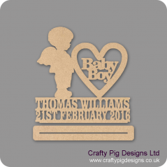 4mm mdf Baby Boy With Wings Plinth Double Row Name And Date Baby Shapes