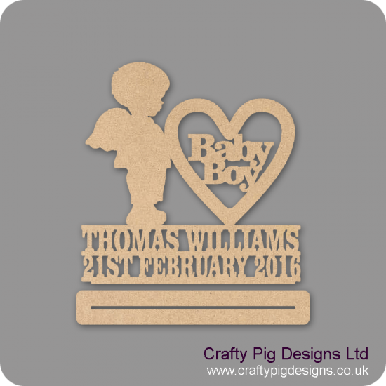 4mm mdf Baby Boy With Wings Plinth Double Row Name And Date