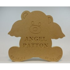 18mm Freestanding Angel Wing Bear (with Personalised Name, Date and Weight Engraving) Baby Shapes