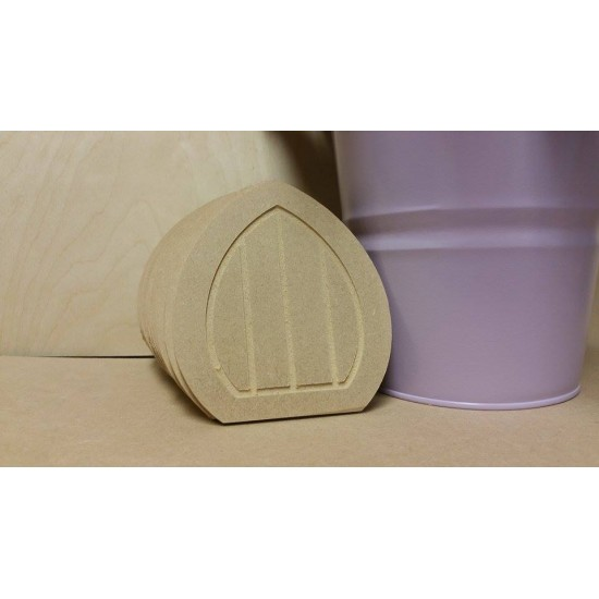 6mm Pointed MDF Fairy Door (110mm high with routered lines)