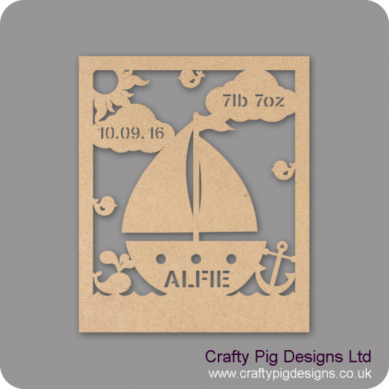 3mm MDF Baby Boy Birth Plaque - Boat Design Baby Shapes